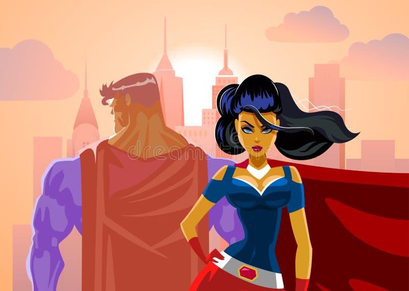 Couples de super héros : Super héros masculins et féminins illustration stock