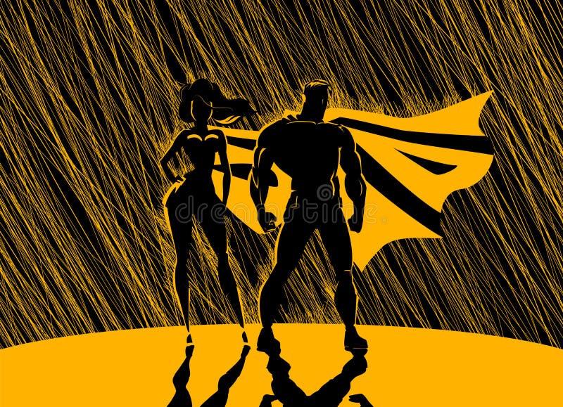 Couples de super héros : Super héros masculins et féminins, posant en o avant illustration libre de droits