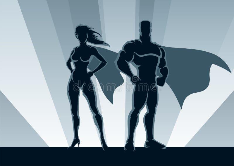 Couples de Superhero illustration stock