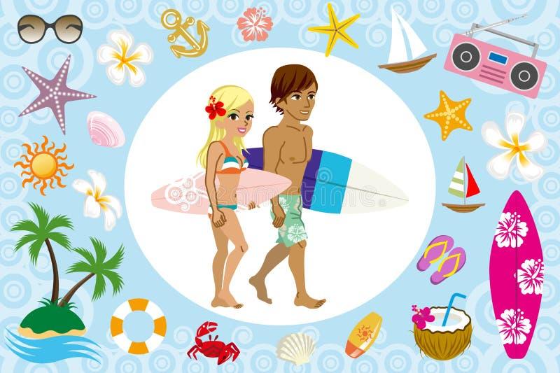 Couples de surfer et icône de mer illustration stock