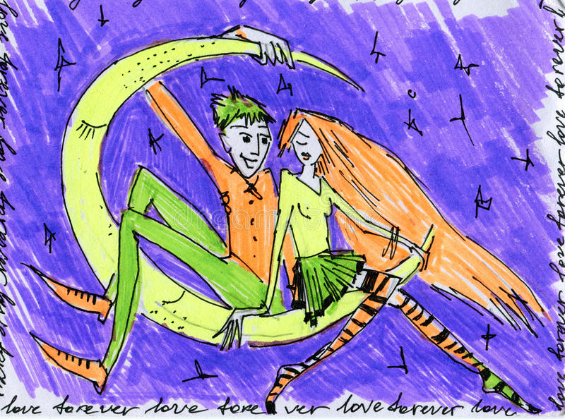 Couples de Valentine illustration de vecteur