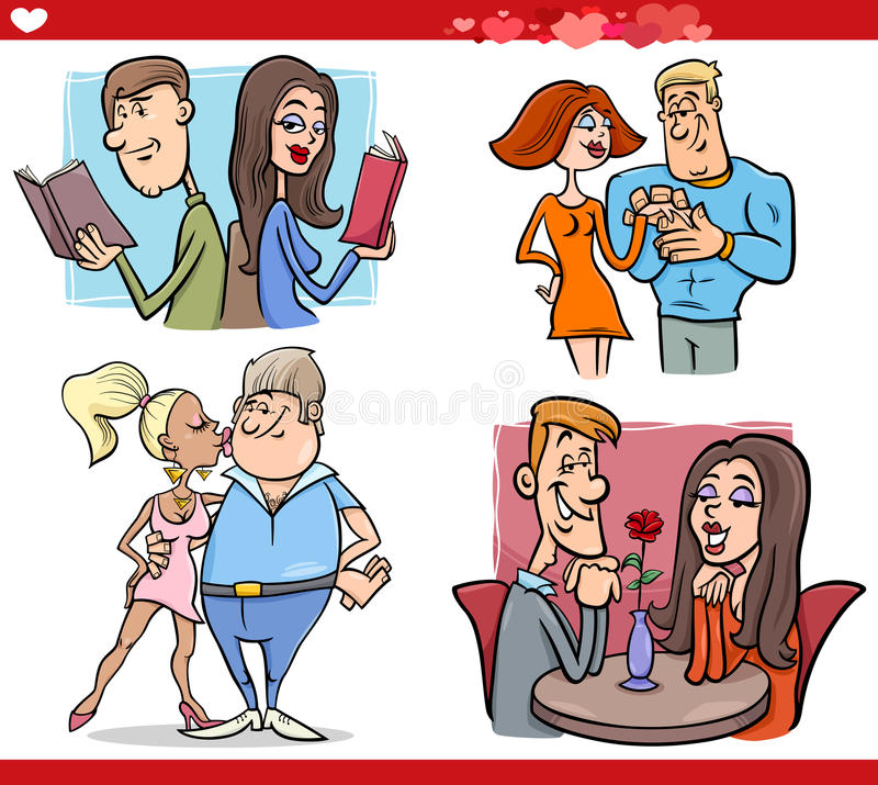 Couples de Valentine dans l'ensemble de bande dessinée d'amour illustration stock