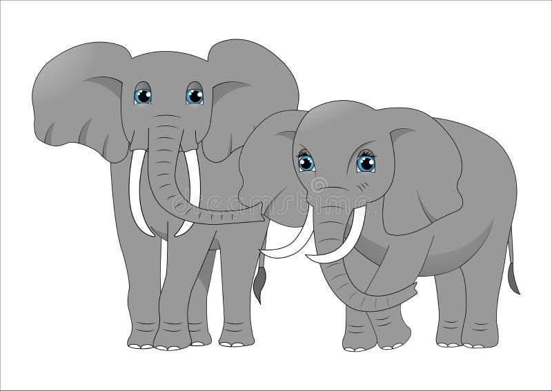 Couples des éléphants mignons de bande dessinée illustration de vecteur