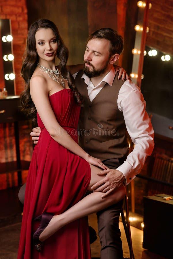 Couples des acteurs dans le vestiaire image libre de droits