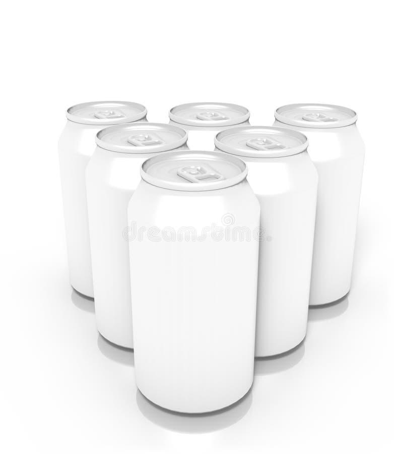 Couples des boîtes vides de boissons, d'isolement sur le fond blanc illustration de vecteur