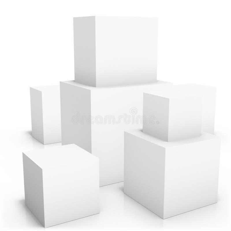 Couples des boîtes vides sur le fond blanc illustration de vecteur