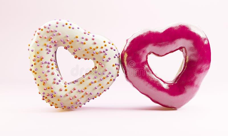Couples des butées toriques en forme de coeur sur le fond rose Concept du ` s de Valentine images libres de droits