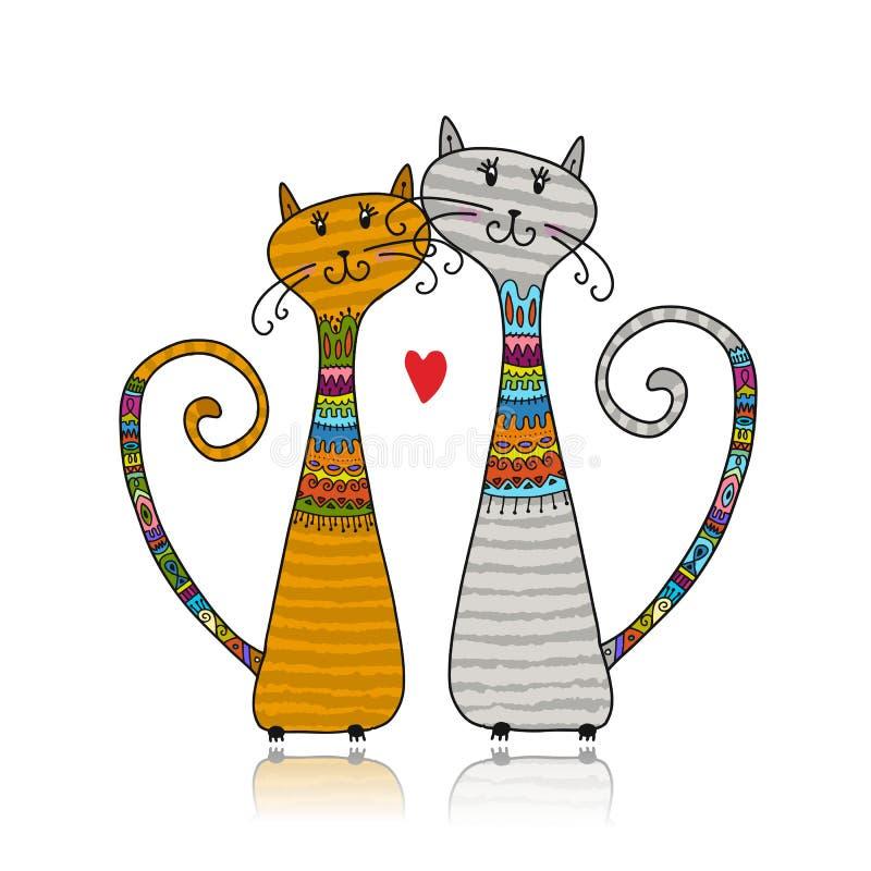 Couples des chats dans des chandails confortables, croquis pour votre conception illustration libre de droits