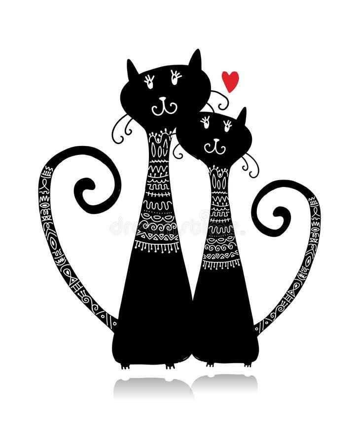 Couples des chats dans des chandails confortables, croquis pour votre conception illustration stock