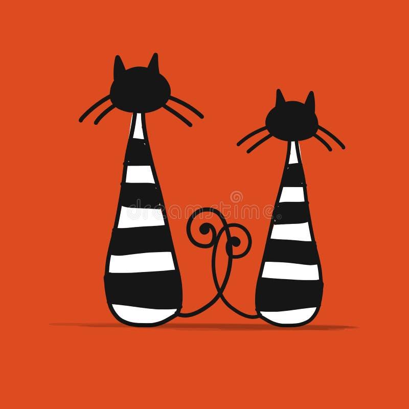 Couples des chats rayés, croquis pour votre conception illustration stock