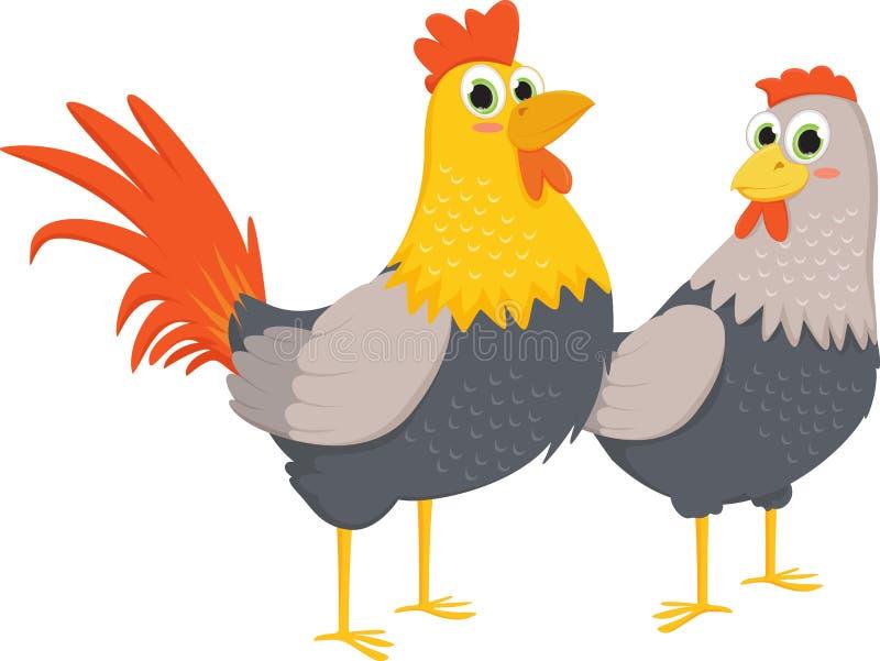 Couples des coqs et des poules illustration de vecteur