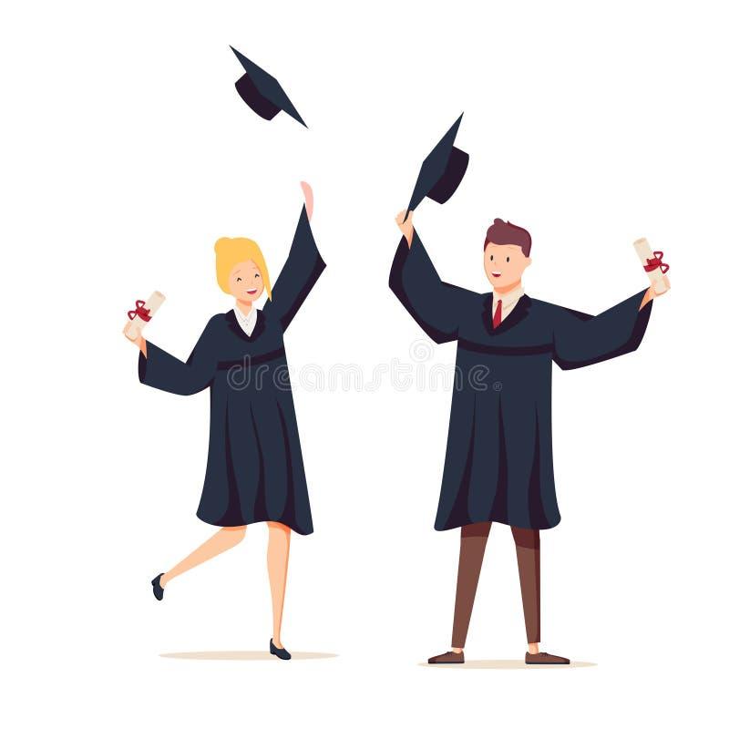 Couples des diplômés avec des diplômes Le type et la fille ont reçu un diplôme de l'université Illustration de vecteur dans le st illustration libre de droits