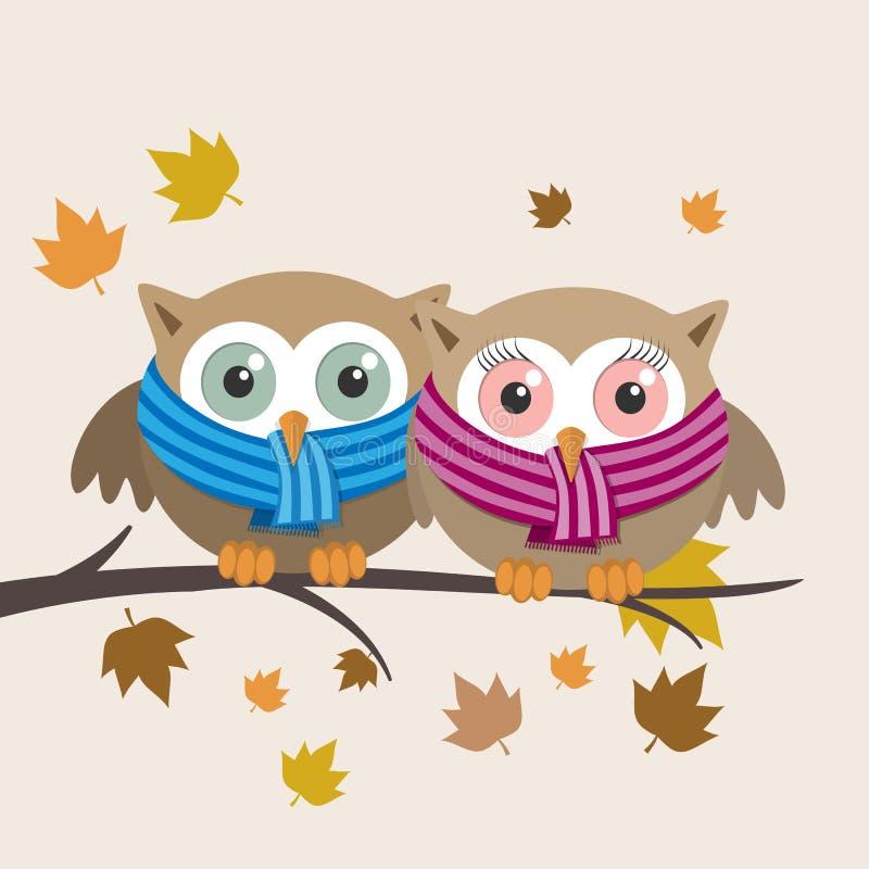 Couples des hiboux avec l'écharpe un jour d'automne illustration stock