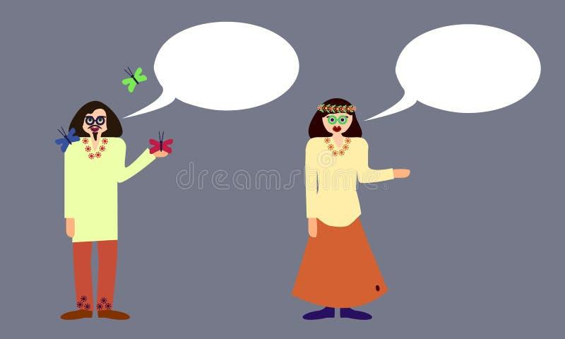 Couples des hippies avec la bulle de communication illustration stock