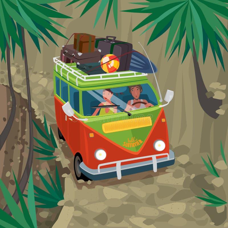 Couples des hippies voyageant dans le fourgon sur une route de montagne illustration de vecteur