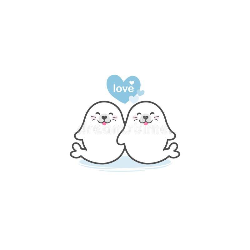 Couples des joints mignons dans l'amour illustration de vecteur