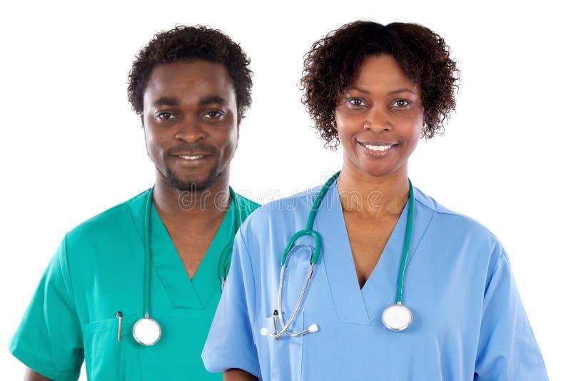 Couples des médecins d'Afro-américain photographie stock libre de droits