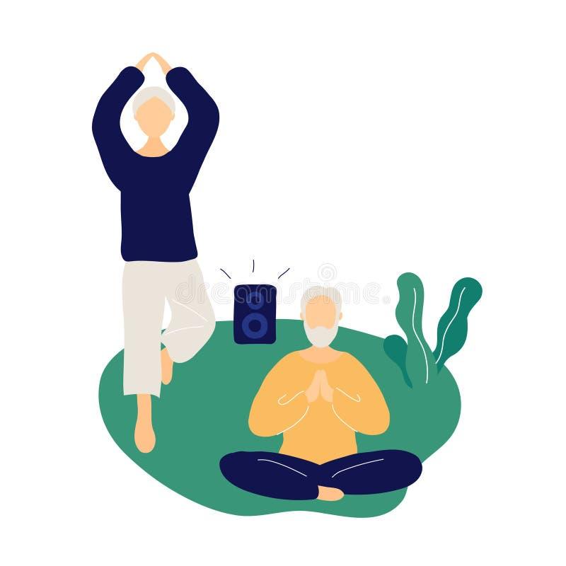 Couples des personnes ?g?es faisant le yoga et m?ditant illustration libre de droits