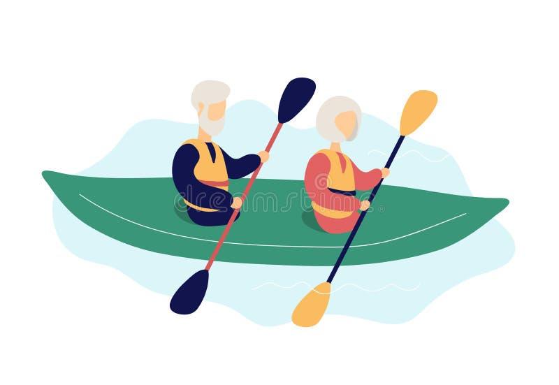 Couples des personnes ?g?es modernes kayaking illustration libre de droits