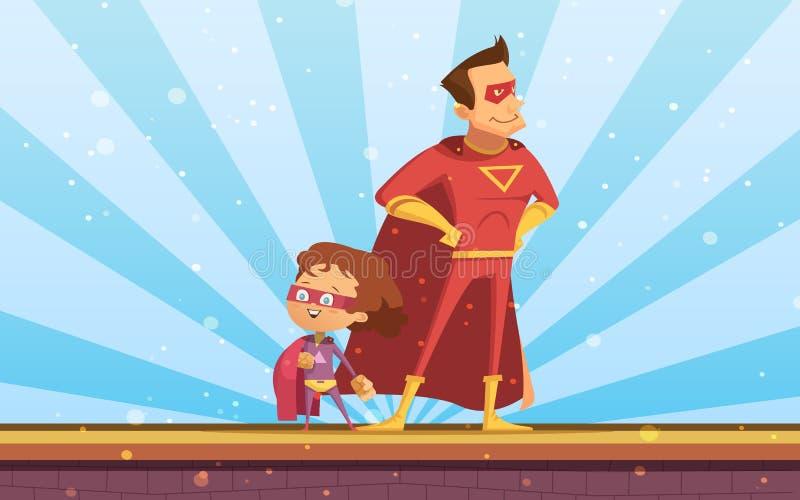 Couples des super héros de bande dessinée d'adulte et d'enfant illustration libre de droits