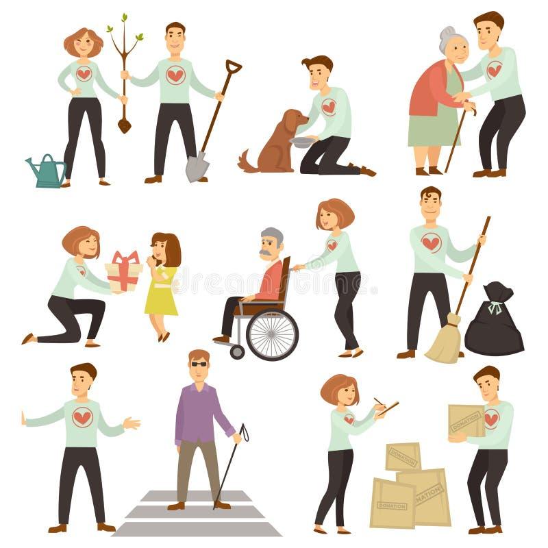 Couples des volontaires qui prennent soin des personnes âgées et de l'écologie illustration de vecteur