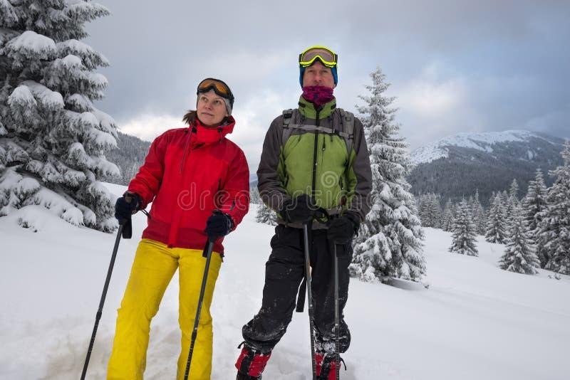 Couples des voyageurs dans les lunettes examinant la distance photographie stock libre de droits