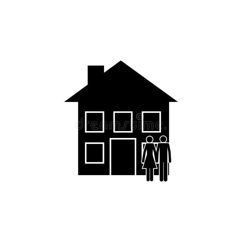 couples devant l'icône de maison Élément d'une icône heureuse de famille Icône de la meilleure qualité de conception graphique de illustration de vecteur