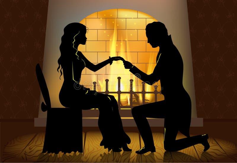 Couples devant la cheminée illustration stock