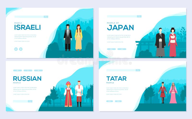 Couples from different countries of the world. Traditional clothing of different nationalities brochure card set vector illustration