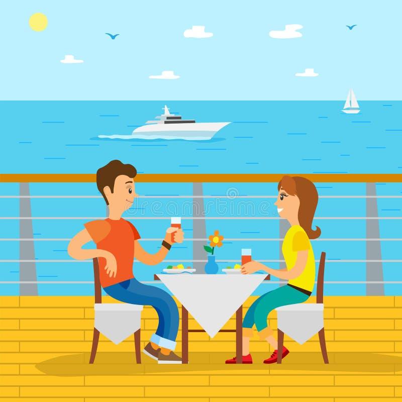 Couples Dinning sur le revêtement de croisière, vecteur de vue de côté illustration libre de droits