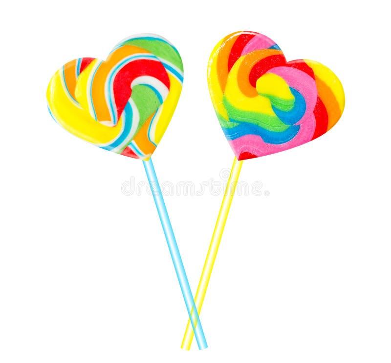 Couples doux - coeurs colorés de lucette photographie stock libre de droits