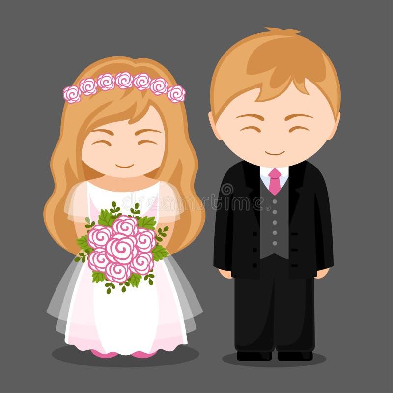 Couples doux de nouveaux mariés illustration libre de droits