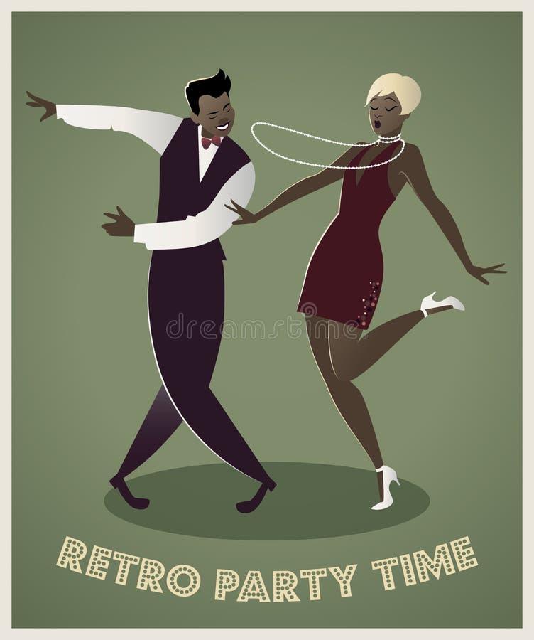 Couples drôles dansant Charleston illustration libre de droits