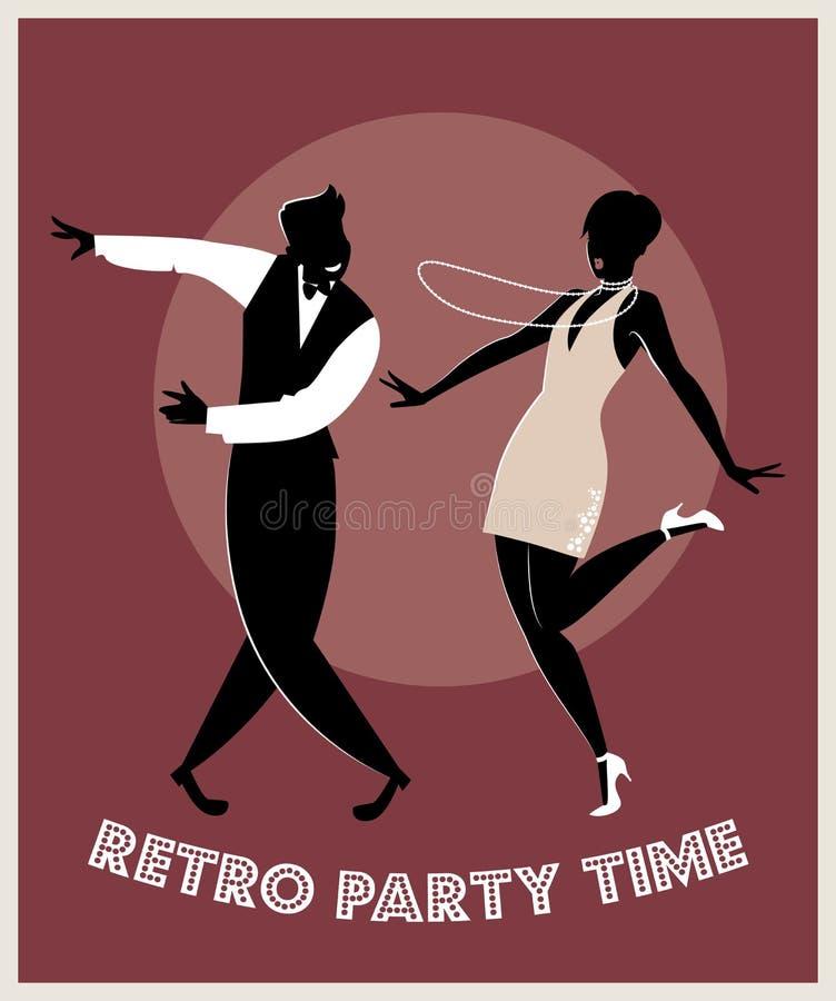 Couples drôles dansant Charleston illustration stock