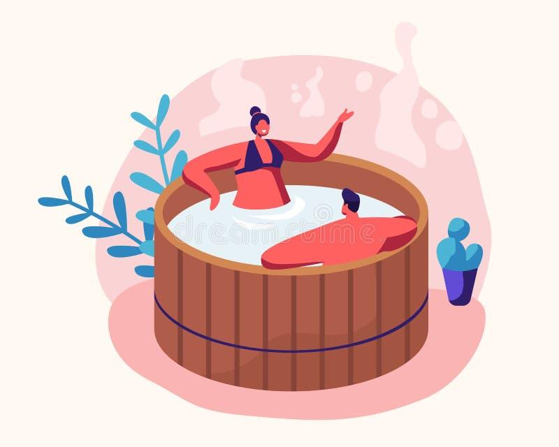 Couples du jeune homme et de la femme s'asseyant à Bath en bois avec de l'eau prenant le sauna et la procédure d'eau Relaxation,  illustration libre de droits