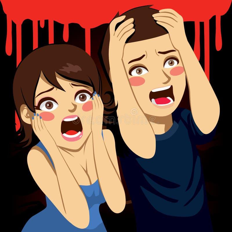 Couples effrayés criant illustration de vecteur