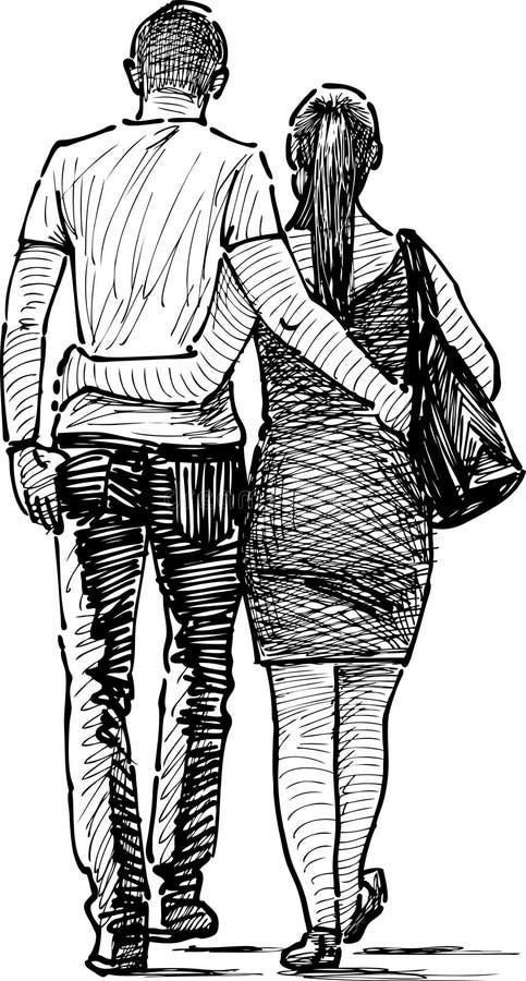 Couples embrassés illustration de vecteur