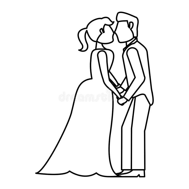couples embrassant épousant le contour romantique illustration stock