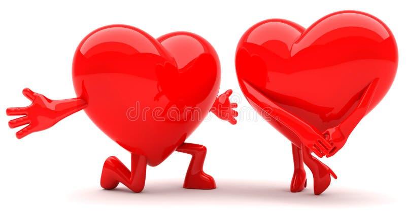 Couples en forme de coeur illustration stock