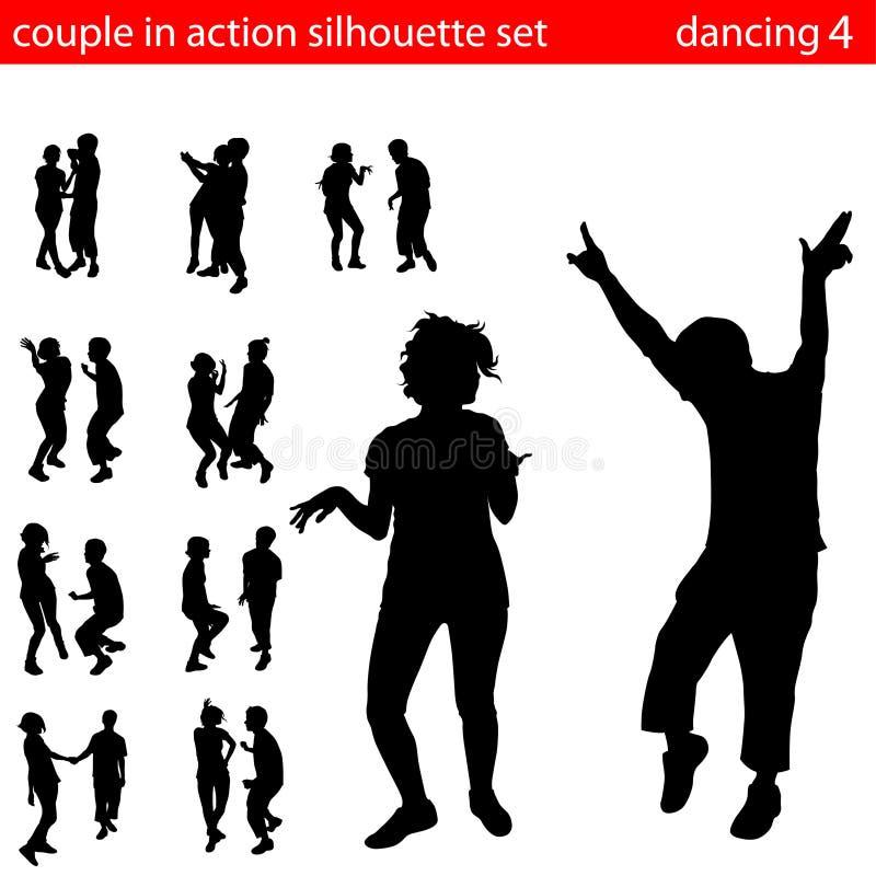 Couples en silhouette d'action illustration libre de droits