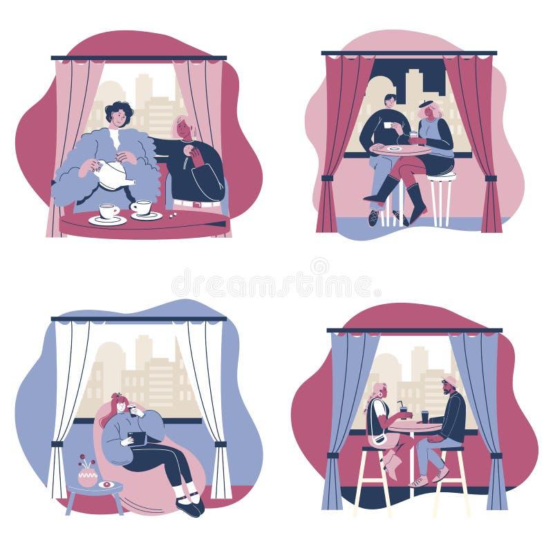 Couples ensemble, illustration d'isolement plate de Coffeee de vecteur illustration libre de droits