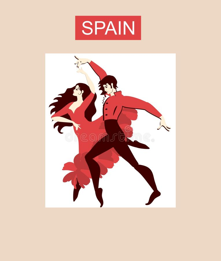 Couples espagnols dans le flamenco national de dancicg de costumes Belle collection illustration libre de droits