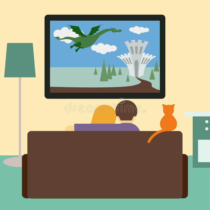 Couples et chat observant le film d'aventure à la télévision illustration de vecteur