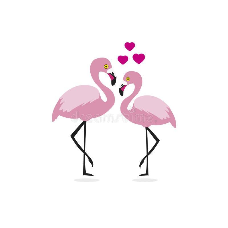 Couples et coeurs de flamant Personnage de dessin anim? mignon illustration libre de droits