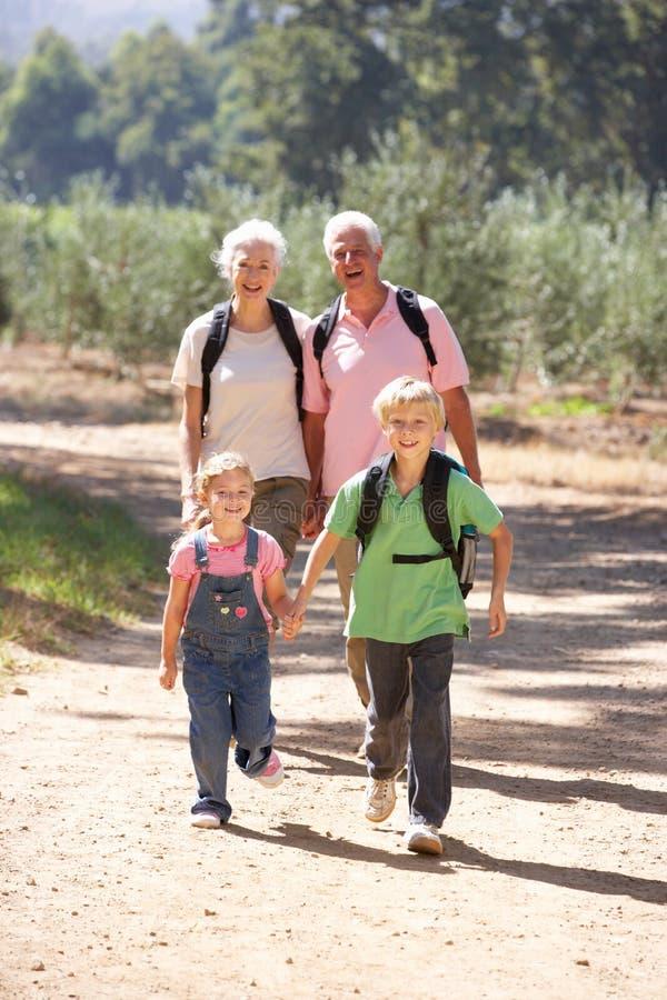 Couples et enfants aînés sur la promenade de pays images libres de droits