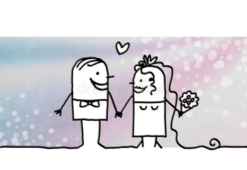 Couples et jour du mariage de bande dessinée illustration libre de droits