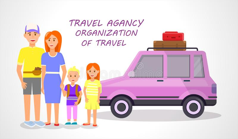 Couples et petits enfants voyageant ensemble illustration de vecteur