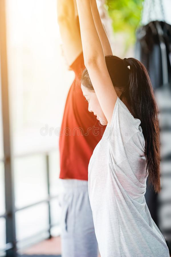 Couples are exercise. royalty free stock photo