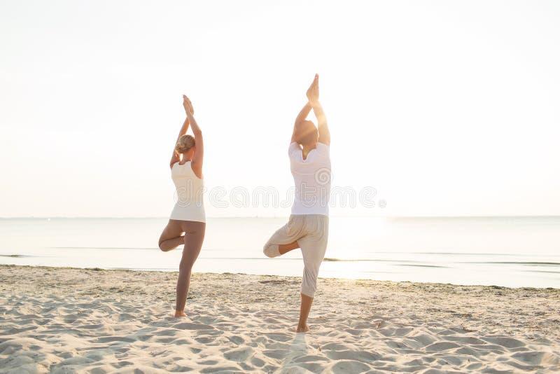 Couples faisant des exercices de yoga dehors à partir du dos photos stock