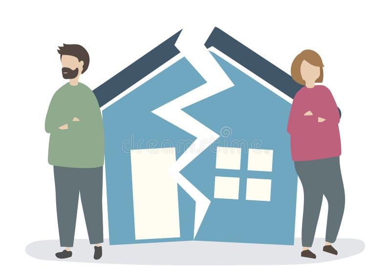 Couples fractionnant et obtenant un divorce illustration stock